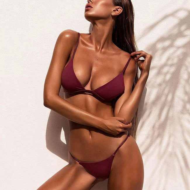 Loren Low Waist Micro Bikini - Purple