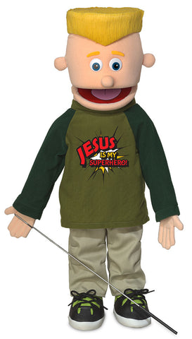 "25"" Jesus Is My Superhero Boy Puppet"