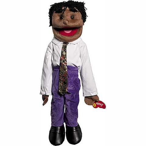 "28"" Black Boy Puppet w/ Dreads"