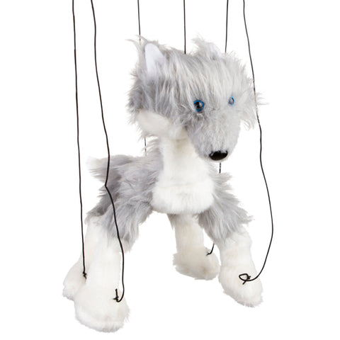 "8"" Grey Wolf Marionette Small"