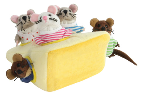 Mouse Family in Cheese Finger Puppets