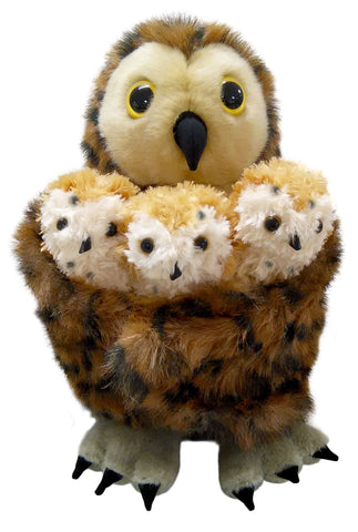 Mother Owl with 3 Baby Finger Puppets