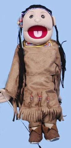 "28"" American Indian Girl Puppet Brown Costume - Puppethut"