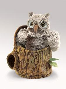 Folkmanis 3035 Owlet In Tree Stump - Puppethut