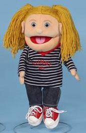 "14"" Sunny Girl Glove Puppet w/ Striped Shirt Blonde - Peazz Toys"