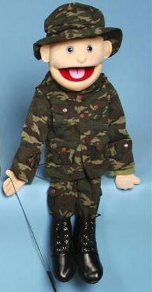 "28"" Army Boy Puppet w/ Blue Eyes - Puppethut"