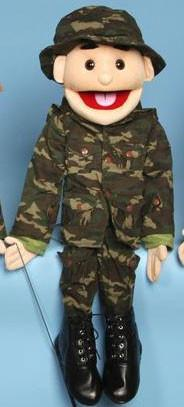 "28"" Army Boy Puppet w/ Brown Eyes - Puppethut"