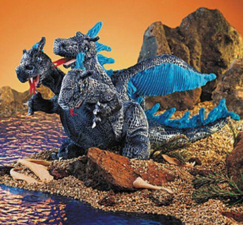 Folkmanis Dragon, Blue Three-Headed Hand Puppet - 2387 - Puppethut
