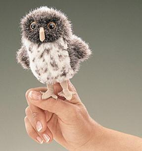 Folkmanis Mini Owl, Spotted Finger Puppet - 2638 - Peazz Toys