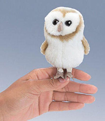 Folkmanis Mini Owl, Barn Finger Puppet - 2645 - Peazz Toys