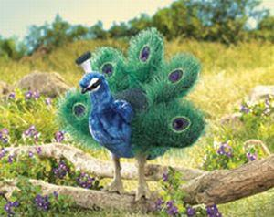 Folkmanis Peacock, Small Hand Puppet - 2834 - Peazz Toys