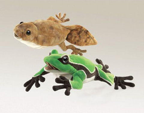 Folkmanis Tadpole/Frog (Reversible) Hand Puppet - 2865 - Peazz Toys