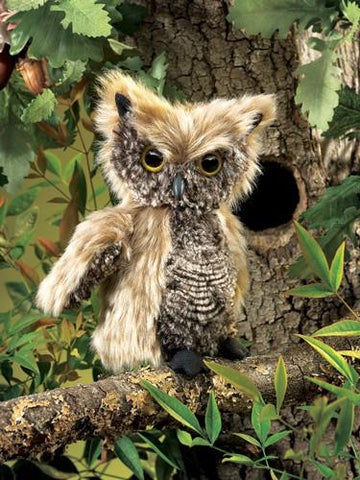 Folkmanis Owl, Screetch Turning Head Puppet - 2961 - Peazz Toys