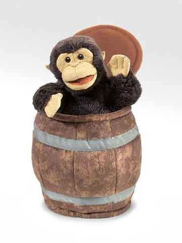 Folkmanis Monkey In Barrel Hand Puppet - 2972 - Peazz Toys
