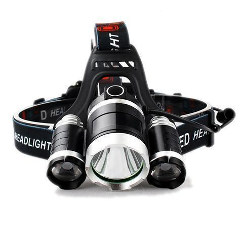 Super Headlamp - 12000 Lumen, XM-L T6, 2X18650 Battery + Car & Wall Chargers