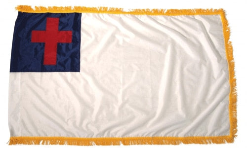 4' x 6' Christian Flag with Sleeve & Gold Fringe