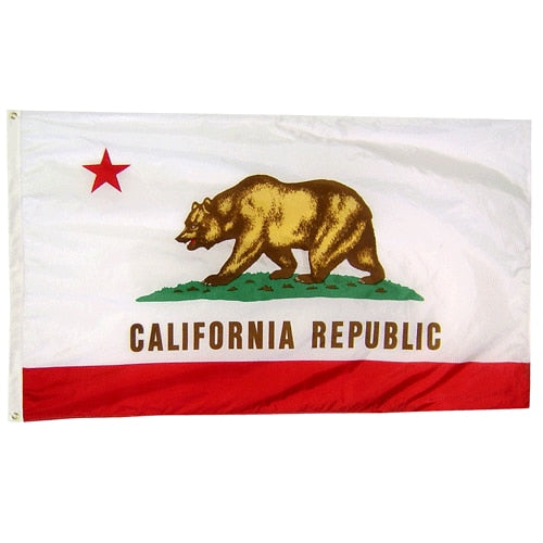 "12"" x 18"" Nylon California Flag with Brass Grommets"