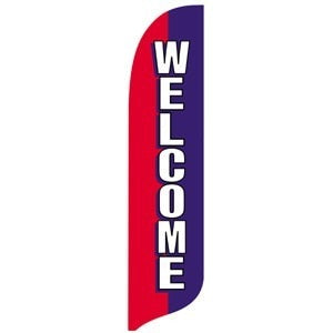 Red, White & Blue Welcome Blade Flag
