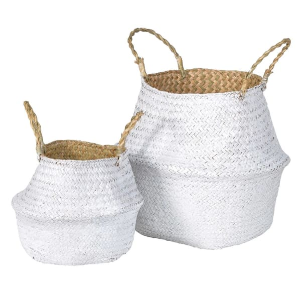 White Dipped Seagrass Belly Basket with handles