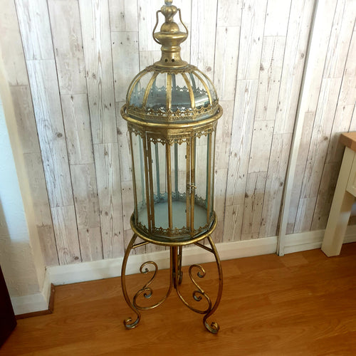 Gold lantern on stand
