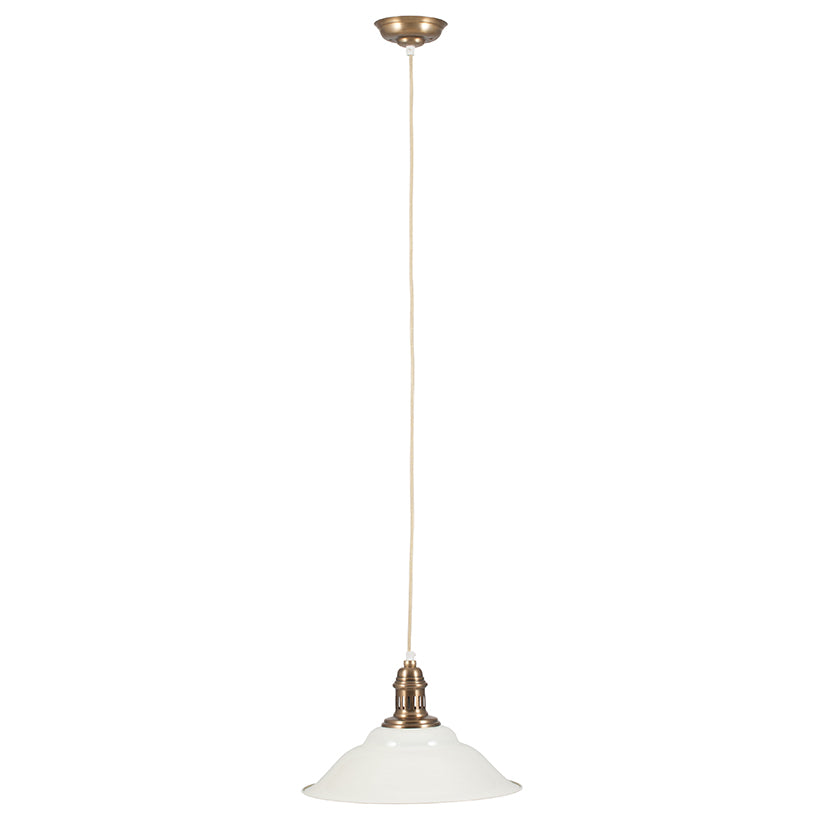 Cream and Gold Electrified Metal Pendant Light