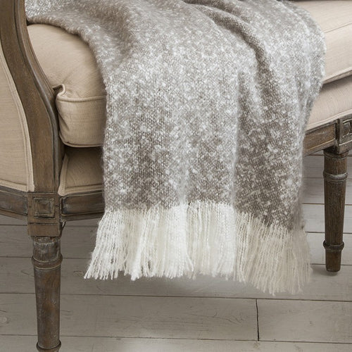 Chic Faux Mohair Grey Throw