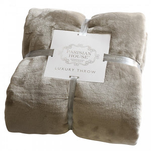 Flannel Fleece Throw Taupe
