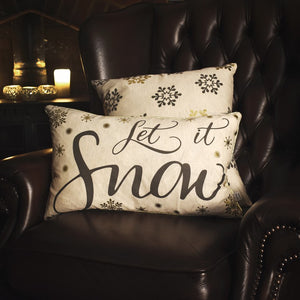 Let it Snow Metallic Printed Cushion