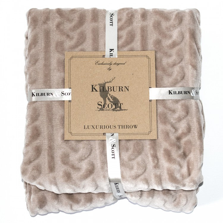 Cable Fleece Natural Throw