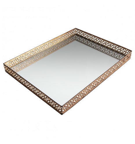 Aged Champagne Mirror Tray