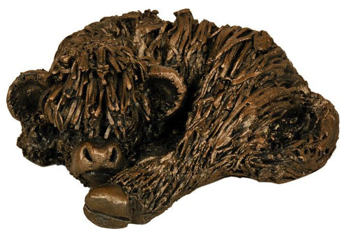Highland Calf Curled Up - Bronze Resin
