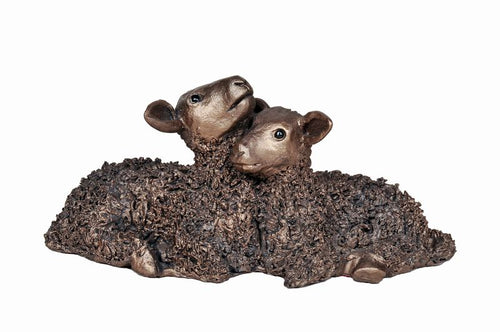 Twin Lambs Medium - Bronze Resin