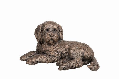 Ozzy Cockapoo Lying - Bronze Resin