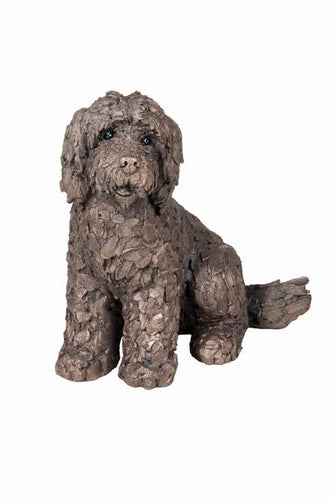 Lucy Cockapoo Sitting - Bronze Resin