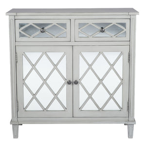 Puglia Collection Dove grey Mirrored 2 Drawer 2 Door Unit