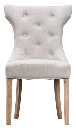 Winged Button Back Chair - Available in Grey or Beige