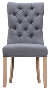 Curved Button Back Chair - Available in Grey or Beige
