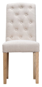 Button Back Upholstered Chair - Available in Grey or Beige