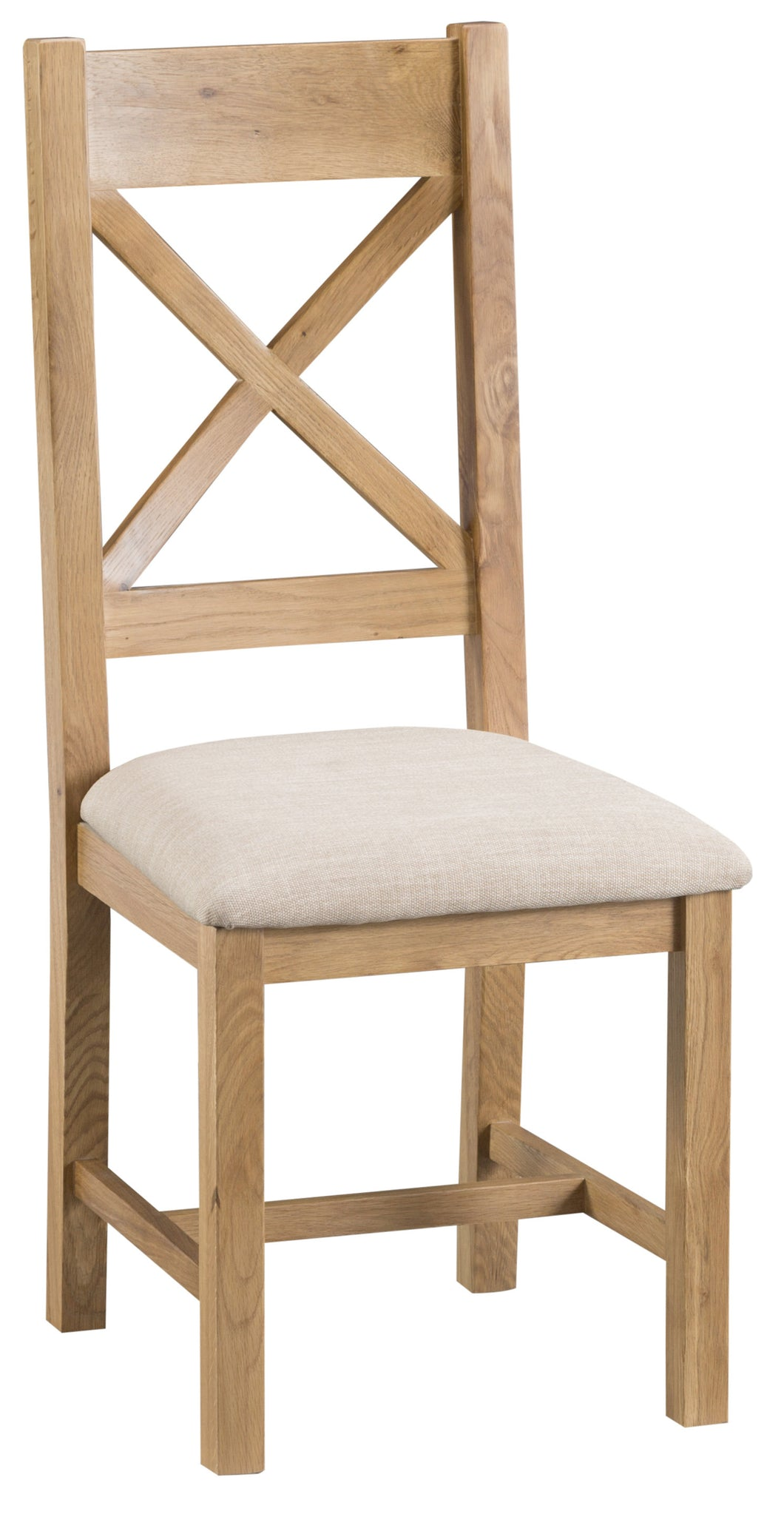 Claudio Cross Back Chair Wooden Seat Fabric
