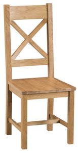 Claudio Living Cross Back Chair Wooden Seat