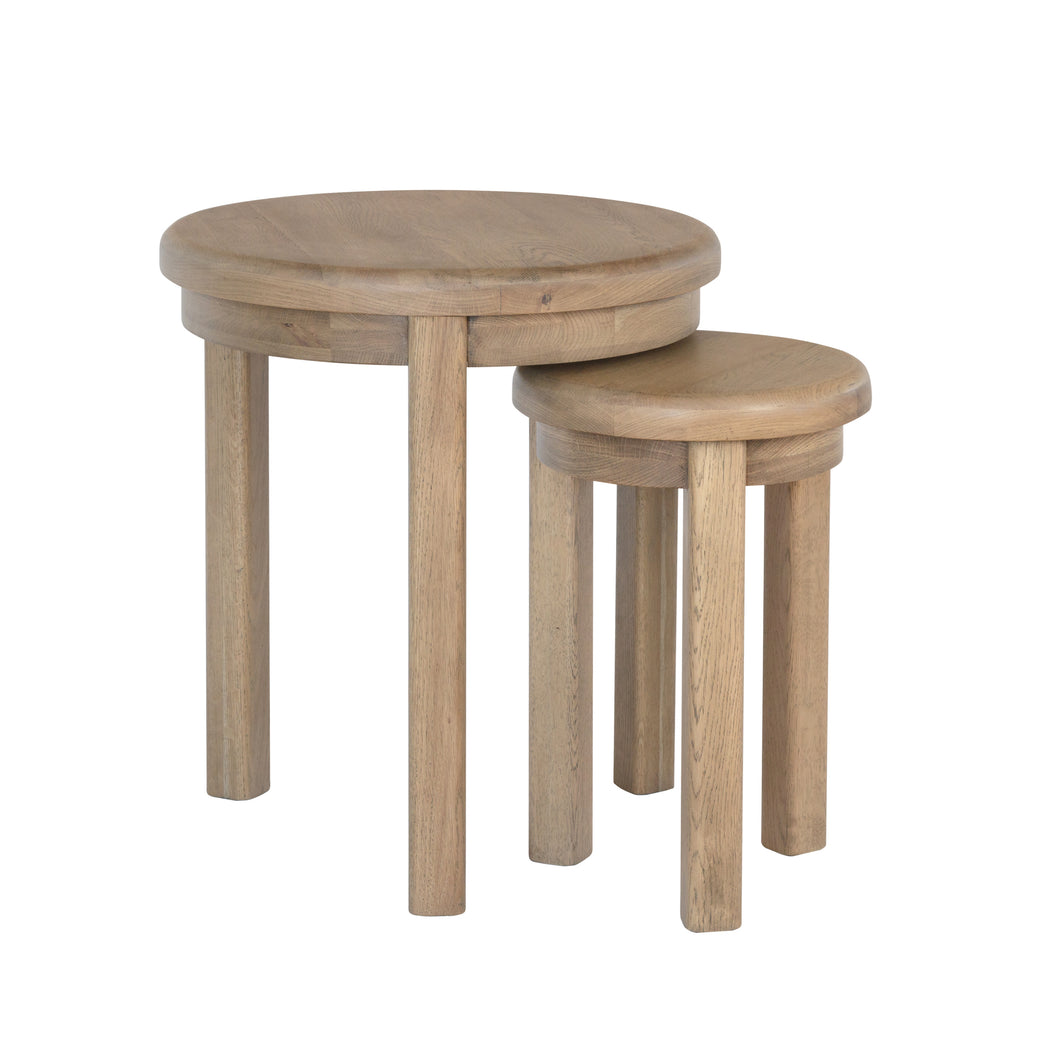 Hodsow Oak Round Nest of 2 Tables