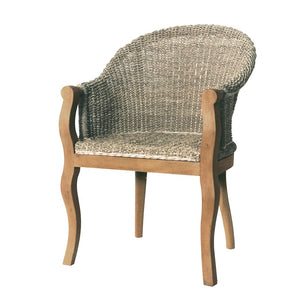 Seagrass & Mahogany Carver Chair
