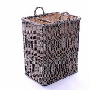 Small Split Log Basket with Ear Handles and Hessian Lining