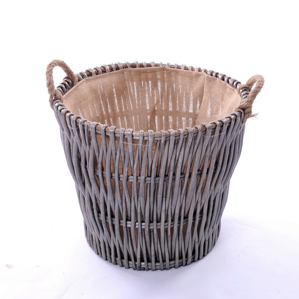 Vertical Weave Log Basket with Rope Ear Handles and Hessian Lining