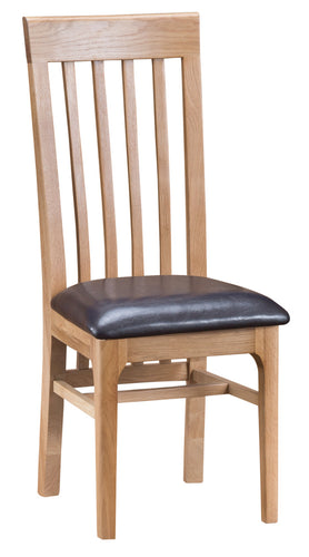 Nordic Oak Living Slat Back chair with leather seat