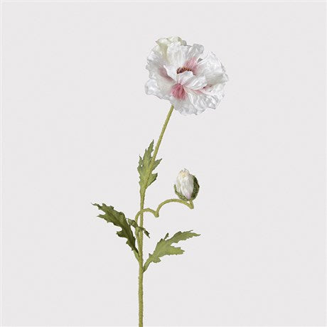 White Flocked Poppy Spray
