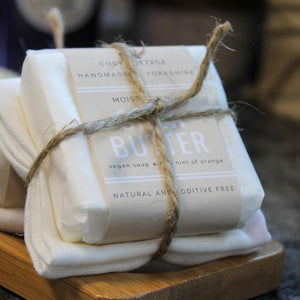 Shea Butter facial soap with muslin