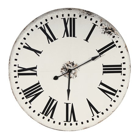 Large Distressed White Wall Clock