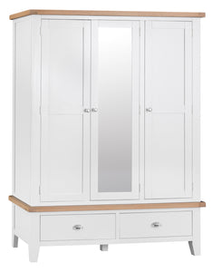 Thornby 3 Door Wardrobe with Mirror - in White or Grey