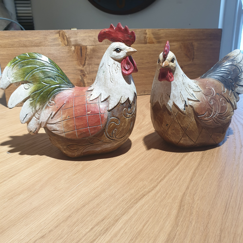 Rupert and Henrietta wooden Chickens